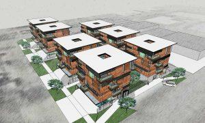 Architects rendering of multifamily residential property at the blocks, a real estate investment complex in Wichita, KS