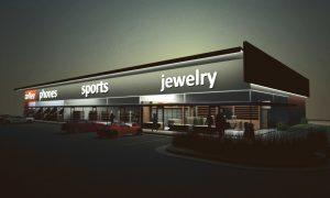 Architects rendering of a retail shopping center for real estate investment - Wichita, KS