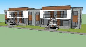 Architects rendering of a tiny-living concept for a two-story, multifamily investment property in Wichita, KS ideal for real estate investing